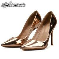Stylesowner אופנה להחליק על נעלי פגיון דק אישה צבע זהב להיראות רזה עור PU עקבים נעליים נשיות מתוקות משאבות עבור אביב