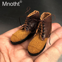 Coffee Color 1/6 Scale WWII Germany Army Bandage Leather Boots Hollow Male Soldier Shoes Model Action figure Accessories m3