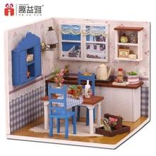 iiE CREATE DIY Doll 하우스 나무 인형 주택 가구와 소형 인형 집 장난감 LED 조명 생일 선물 레스토랑 모델