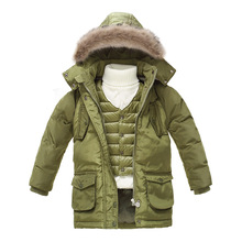kids boys duck down coat snow wear warm hooded fur collar girls outerwear coat medium long children ski jacket