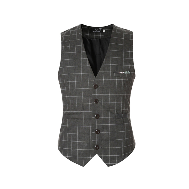 Men's Suit Vest 2017 New Arrival Business Plaid Waistcoat Casual Slim Fit Vest Colete Masculino Social Wear