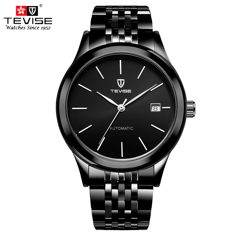 TEVISE Man Auto Date Mechanical Watch Man Automatic Self Wind Watches Fashion Stainless Steel Wristwatch Male Reloj Hombre 9017 jaragar 6 hand day date stainless steel band automatic mechanical male wristwatch mens clock reloj hombre