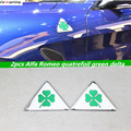2 pcs Alfa Romeo delta quadrifólio verde Side Fender Emblema Emblema Do Carro adesivo para Alfa 147 156 166 159 Giulietta Aranha Giulia GT