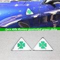 2pcs Alfa Romeo quatrefoil green delta Car Side Fender Emblem Badge Sticker for Alfa 147 156 166 159 Giulietta Giulia Spider GT