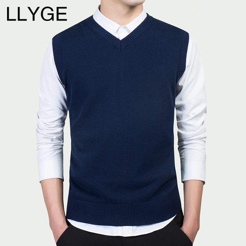 LLYGE Cotton Men V Neck Vest Sweater Top Black Slim Sleeveless Knitted Pullover Sweaters Tops For Mens Mlae Streetwear Clothes