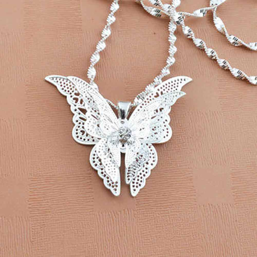 1Pc Exquisite Women Grls Fashion Silver Plated Butterfly Necklace Pendant Jewelry Accessories Gift For Wedding Party (No Chain)