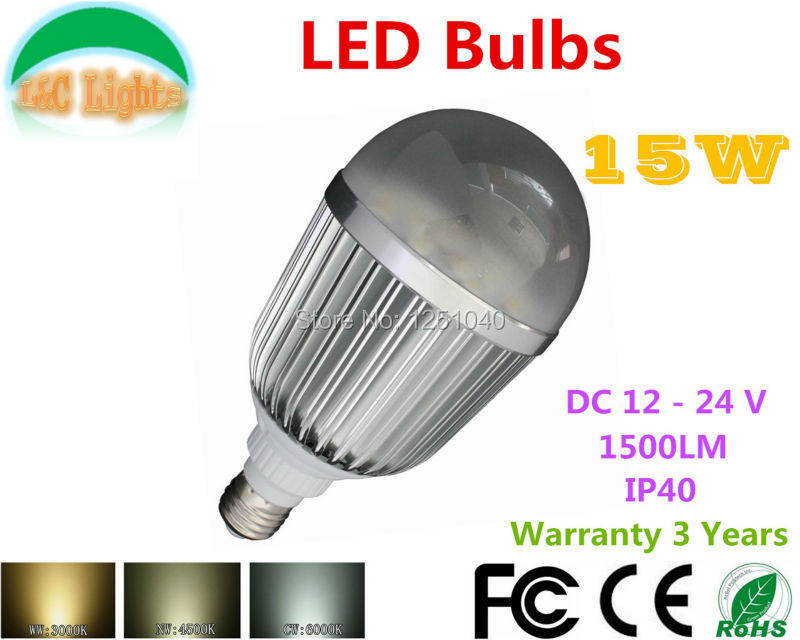 DC Boost Constant Current Drive 15W LED Bulbs DC 12V 24V High Power LED Lamps 1500LM LED Home Lighting CE RoHS E27 Light Bulbs