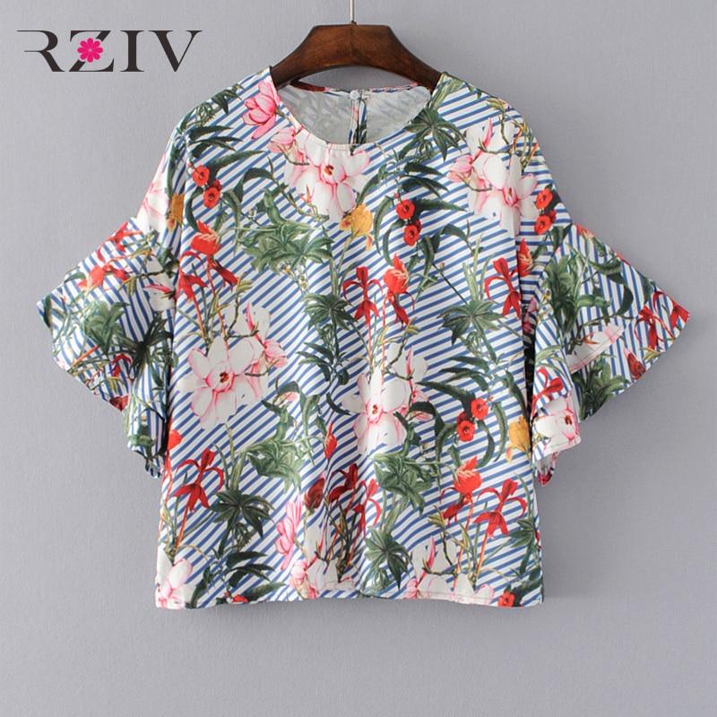 RZIV 2017 mujer blusa camisa superior ocasional del verano flores impreso blusa