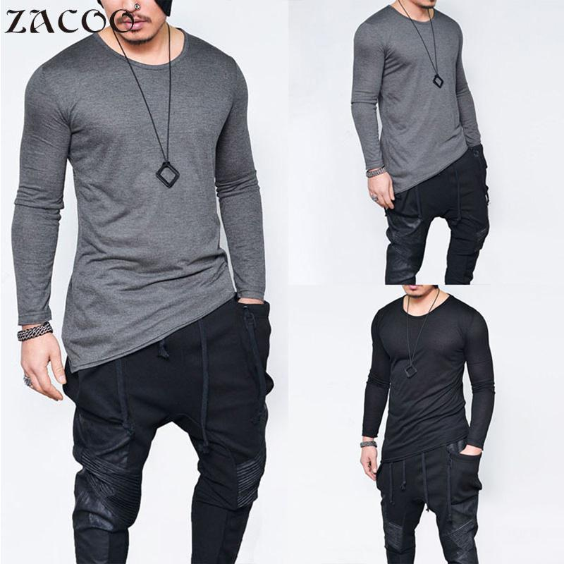 2018 Autumn new Men Gothic T shirts Top tees Long Sleeve Men Round Collar Casual T-Shirt Fashionable Cropped Pullovers