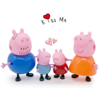 4Pcs/ Peppa pig George guinea pig Family Pack Dad Mom Action Figure Original Pelucia Anime Toys For Kids children Gift