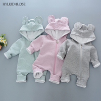 HYLKIDHUOSE Spring Autumn Newborn Infant Rompers Hooded Babies Jumpsuits Cartoon Baby Boys Girls Cotton One Pieces