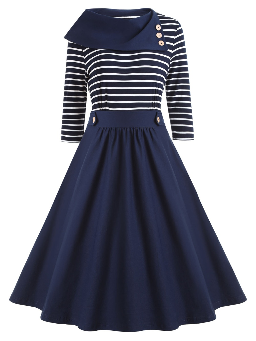 Chic Woman New Fashion Vintage Striped Patchwork Long Sleeve Shawl Collar A Line OL Midi Dress in Dresses from Women 39 s Clothing