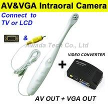 Oral 2en1 TV/LCD Cámara Intraoral (VGA y AV out) 6 luz led cámara endoscopio dientes foto disparar dental Dentista, VGA y AV Out