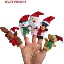 5 Marionetas  de dedo animales con Gorro de Navidad