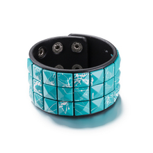New Fashion Jewelry Sky Blue Bracelets Rock Bikers Wide Bangle Squares Leather Bracelets Women Casual Vintage Punk Bracelet Gift