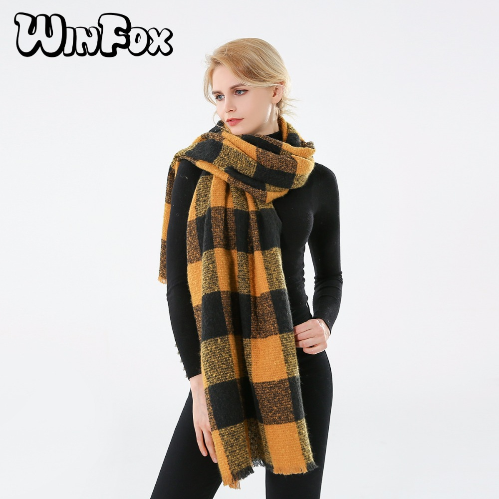 Winfox 2018 New Brand Fashion Black Yellow font b Tartan b font Plaid Checked Blanket Scarf
