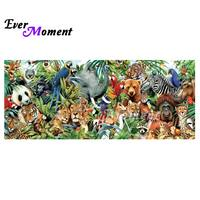 Ever Moment DIY Diamond Painting All Wild Animals Family Portrait Photo Full Square Drills 5D Rhinestone Wall Painting ASF1044