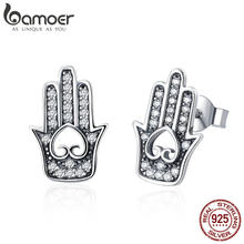 BAMOER Hot Sale Genuine 925 Sterling Silver Fatima's Guarding Hand Stud Earrings for Women 2018 Sterling Silver Jewelry SCE416(China)