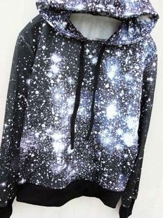 Winter Stripe Letter Neon Colorant Match Pullover Galaxy Sweatshirt Loose Hallucinogenic Galaxy Pullover