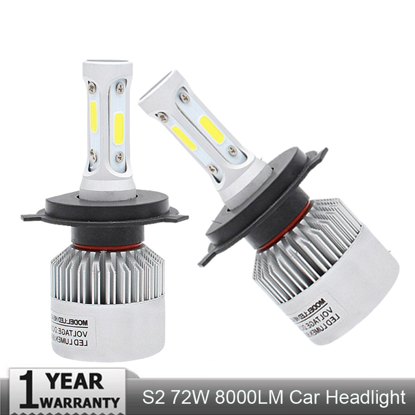 Muxall 2Pcs Auto H4 LED H7 H11 H8 9006 HB4 H1 H3 HB3 S2 Car Headlight Bulbs 72W 8000LM High Low Beam Automobiles Lamp 6500K 12V 2pcs led headlight 72w kit 16000lm kit h4 high low beam h7 9005 9006 hb4 cob s2 auto car light all in one automobile lamp 6500k