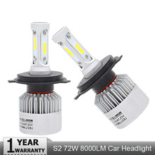 Muxall 2Pcs Auto H4 LED H7 H11 H8 9006 HB4 H1 H3 HB3 S2 Car Headlight Bulbs 72W 8000LM High Low Beam Automobiles Lamp 6500K 12V(China)