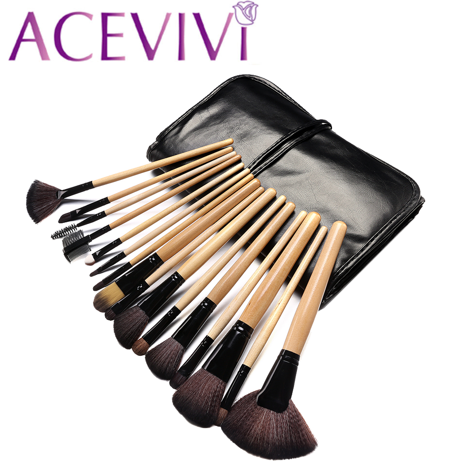 ACEVIVI 15 Color Concealer Palette + 24 pcs Wooden Handle Brush + 1 Leather Carrying Bag Puff Makeup Base Foundation Concealers 8pcs makeup brushes cosmetics eyeshadow eyeliner brush kit 15 color concealer facial care camouflage makeup palette sponge puff