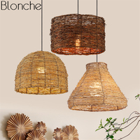 Southeast Asia Rattan Pendant Lights Japanese Bamboo Wicker Hanging Lamp for Restaurant Home Light Fixtures Decor Luminaire E27