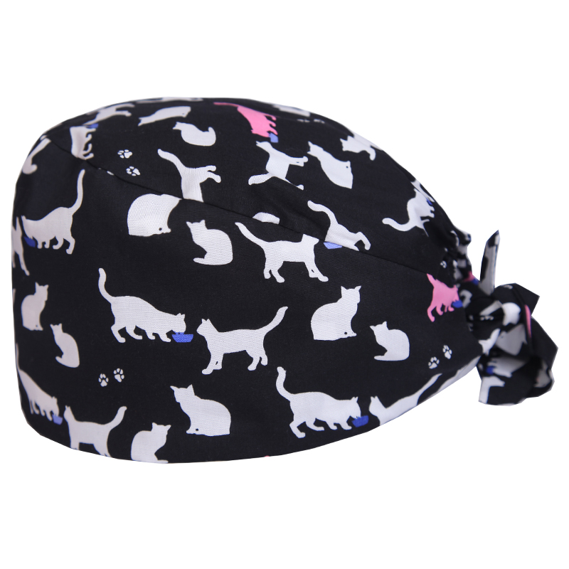 Cat Veterinary Surgical Scrub Cap For Women And Men Hospital Medical Hats Doctor Nurse Dentist Work Hat One Size Sweatband Hats