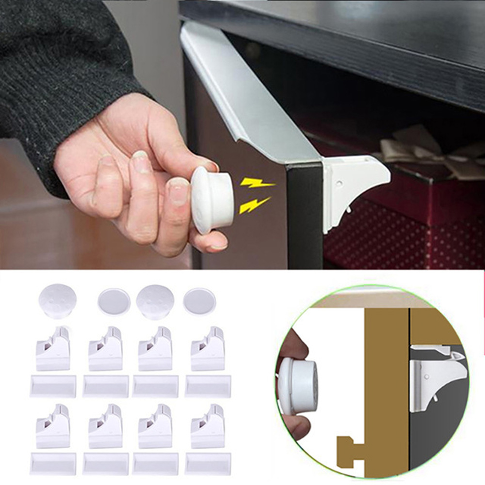 12+3 Pcs Magnetic Locks Child Protection Baby Safety Lock Infant Security Locks Drawer Latch Cabinet Door Stopper Lock Limiter