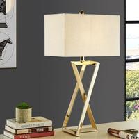 Современные настольные лампы для Гостиная дома светодио дный настольная лампа Спальня чтения E27 нержавеющая сталь абажур Abajur Lamparas De Mesa