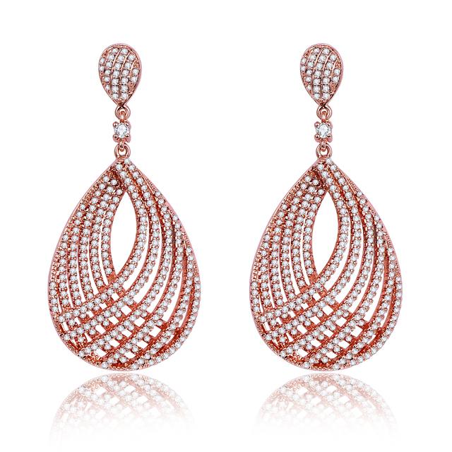 2016 moda feminina rose banhado a ouro cubic zirconia belas casamento casamento/presente de aniversário de cristal brincos de jóias