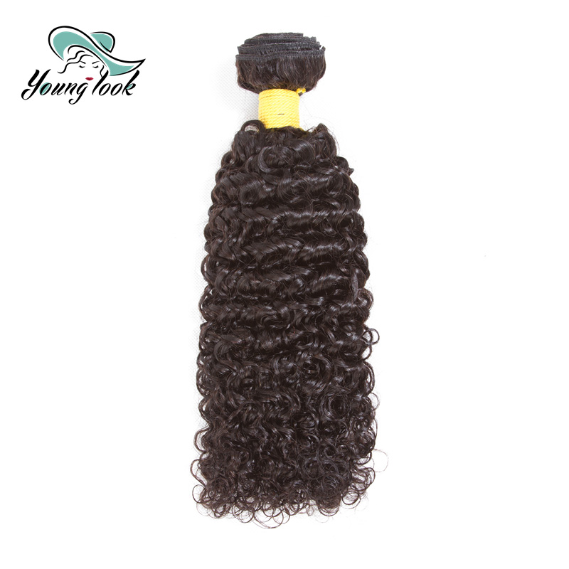 Young Look Brazilian Remy Hair Extensions Kinky Curly Human Hair Bundles Hair Weave Bundles 1 PIC Natural Color Free Shipping