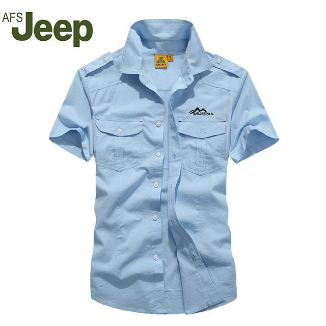 AFS JEEP2016 Los nuevos hombres de moda casual camisa de manga corta camisa de color sólido de Los Hombres Delgados de un solo pecho camisa 80