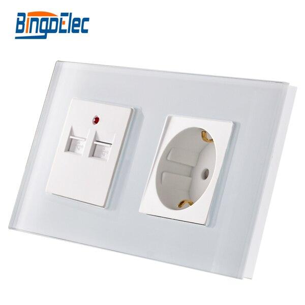 цена на AC 110-250V,Hot sale CE certification Three Color Glass Panel Germany socket with 3.1A 3100MA USB Wall Double Soket