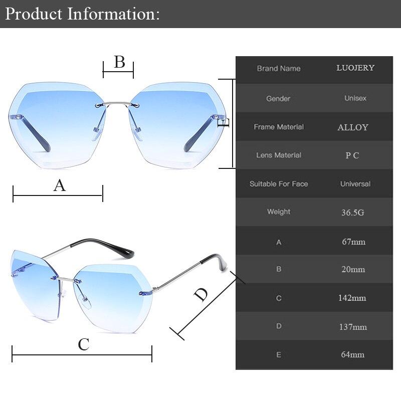 Luxury Fashion Rimless Oversized Cutting Lens Sunglasses Women Brand Trimmed shades Sun Glasses Female Glasses UV400 Oculos de in Women 39 s Sunglasses from Apparel Accessories
