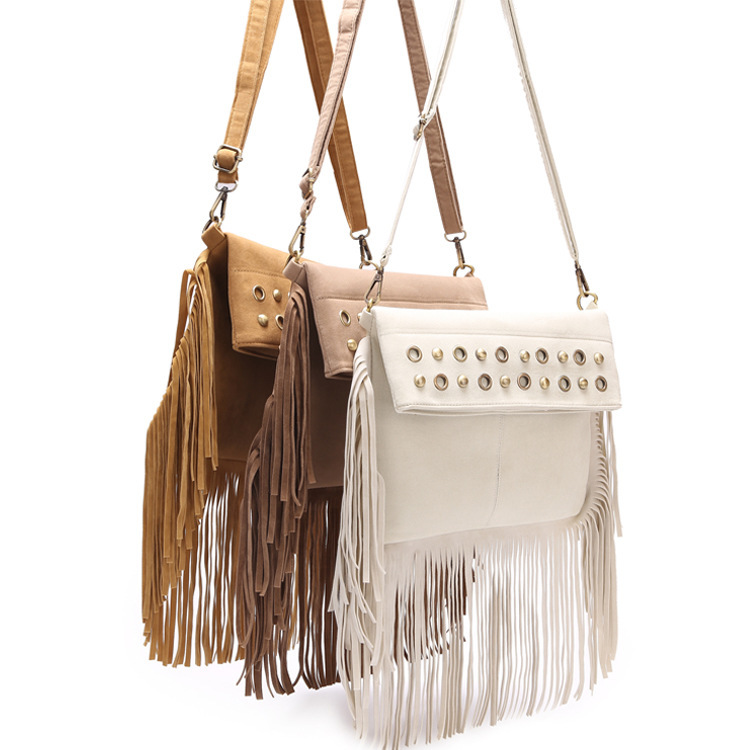 2016 designer brand ladies crossbody bag woman messenger bags fashion rivets tassels leather quality suede feminia