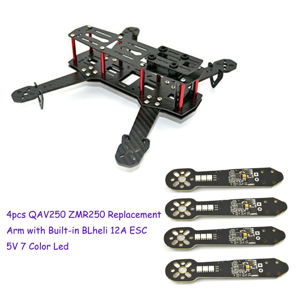 fpv 4pcs QAV250 ZMR250 Replacement  Arm with Built-in  BLheli 12A  ESC For  Mini 250mm FPV Quadcopter Frame fpv quadcopter multicopter rtf mini 4 in 1 22 amp esc 35x50 blheli oneshot