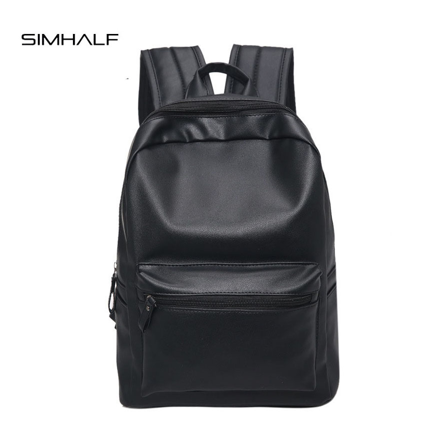 SIMHALF Women Black PU Leather Backpack Preppy Style School Backpack For Teenage Girls Casual Travel Backbag Mochila 2017