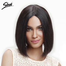 Sleek Hair Short Lace Front Human Hair Wigs For Black Women Remy Brazilian Straight Bob Wig 130% Density Middle Part