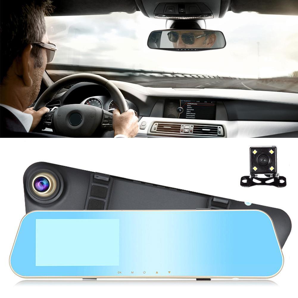 Car Vehicle DVR 4.3 Inch Monitor Reverse Night Vision Dual Lens Dash Camera