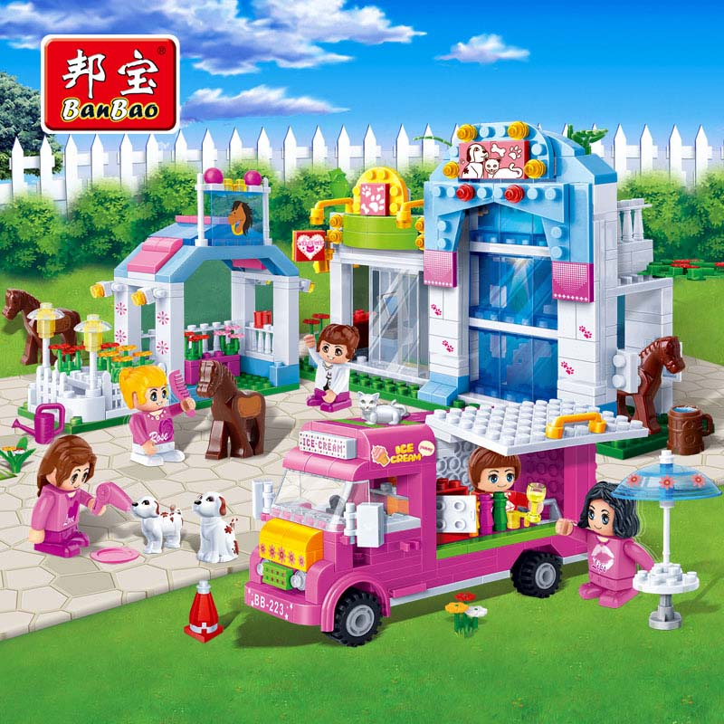 BanBao Girls Educationa Toys For Children Kids Gifts City Friends Pet House Bus Horse Dog Stickers Compatible With Legoe цена