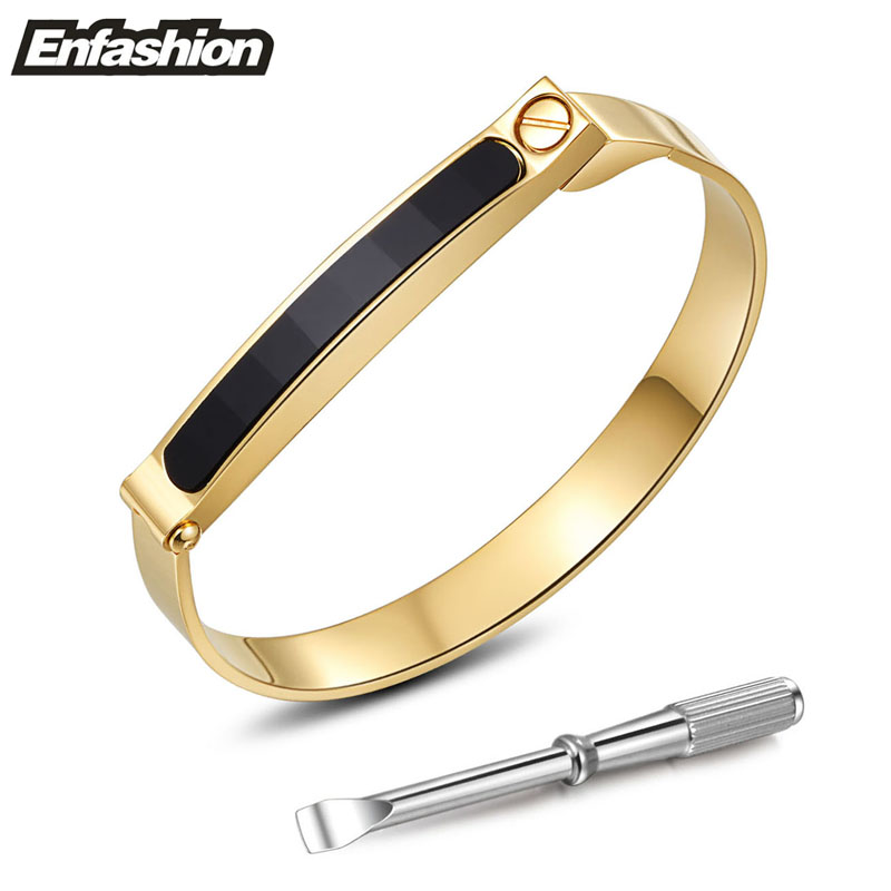 gold bracelet for bangle sabrinasilver bangles tone women shopcart bracelets oval stainless screw head impl product steel wide fits