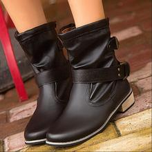 Hot sale 2016 AutumnWinter fashion women shoes casual boots PU leather shoes wrarm Low-heeled boots mujer Plus size 35-40 F018