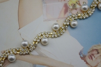 1 Yard 2 Rows 3mm Clear Crystal And Pearl Rhinestone Close Trims Gold Cup Chain Sew