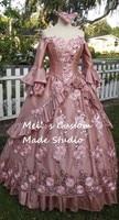 Dusty Rose Bloemen Sparkle Fantasy Marie Antoinette Prinses Gown/Wedding Kostuums