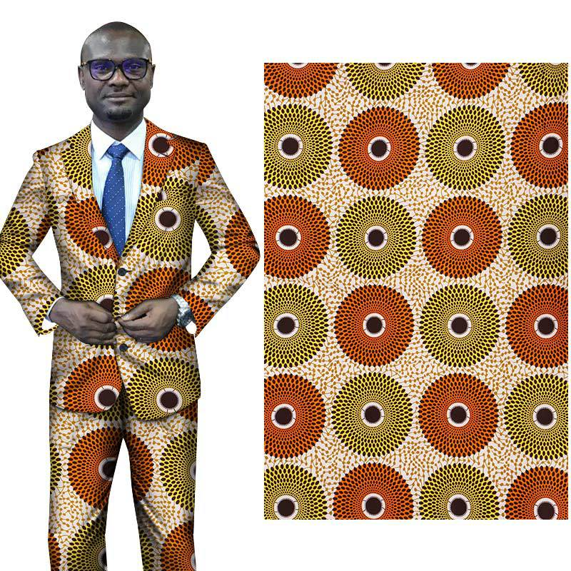 African National Costumes Circle Printing pattern all polyester printed fabric Yellow african fabric wax print ankara christmas in Fabric from Home Garden