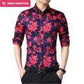 2016 Limited Men Shirt New Spring Fashion Brand Clothes Slim Fit Flower Long Sleeve Shirt Men High-end Casual Social 5xl,gx259