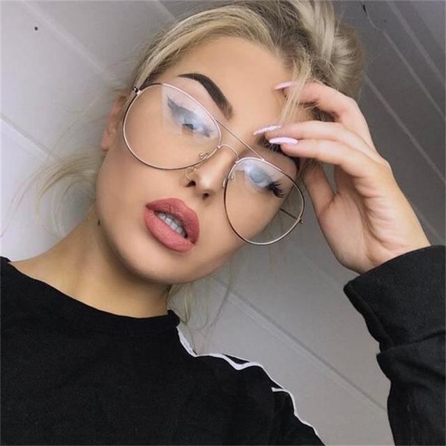 d9cde15b85a704 Anti-blueray ordinateur lunettes effacer lunettes d aviateur optique cadre transparent  lunettes myopie femmes