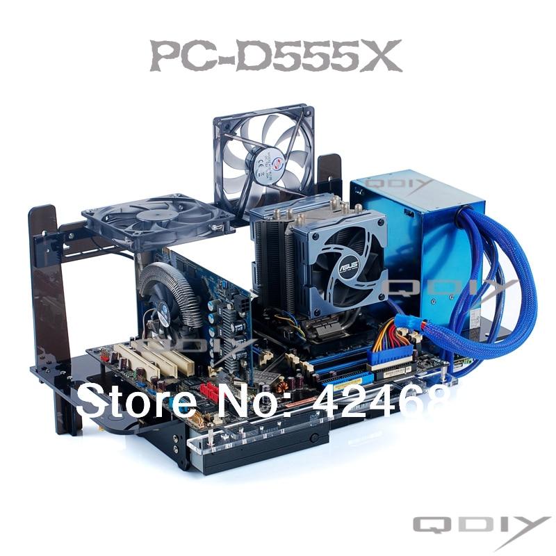 qdiy pc-d555x atx компьютер башни персонализированные акриловые прозрачный корпус компьютера