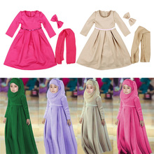 2016 Muslim polyester abaya islamic clothes for children Malaysia high quality jibabs kaftan girl princess dress prayer garment